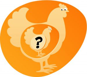 """""""Which came first, the chicken or the egg?"""" register niet not"""